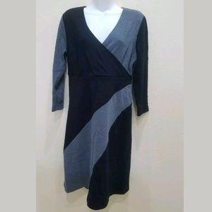 Adrienne Vittadini Black/Gray V Neck DressSize XL